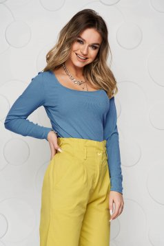 Bluza dama SunShine albastra basic din material reiat elastic si fin mulata