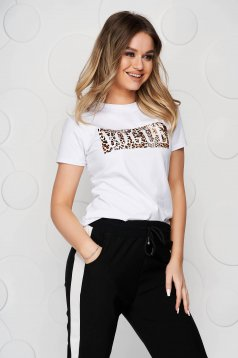 White t-shirt elastic cotton loose fit animal print