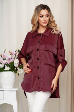Burgundy women`s shirt from satin nonelastic fabric loose fit