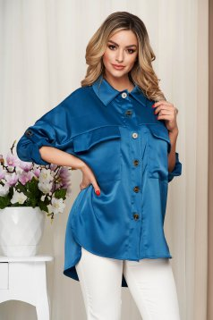 Blue women`s shirt from satin nonelastic fabric loose fit