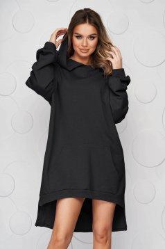 Black dress slightly elastic cotton asymmetrical loose fit