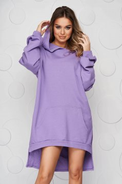 Purple dress slightly elastic cotton asymmetrical loose fit