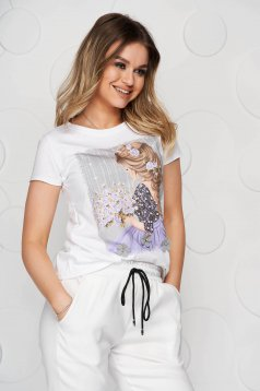 Lila t-shirt elastic cotton loose fit short cut with graphic details