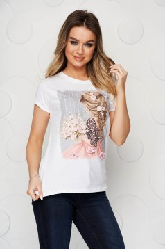Lightpink t-shirt elastic cotton loose fit short cut with graphic details