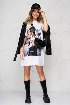 White dress elastic cotton with graphic details loose fit