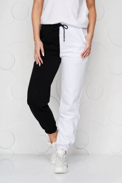 White trousers cotton high waisted with elastic waist