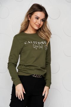 Khaki women`s blouse cotton with crystal embellished details loose fit