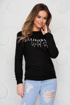 Bluza dama SunShine neagra din bumbac cu croi larg si aplicatii cu pietre strass