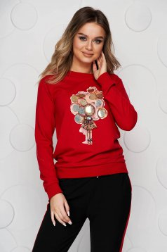 Cotton with graphic details red women`s blouse with sequin embellished details