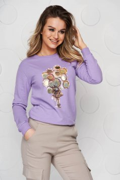 Cotton with graphic details lila women`s blouse with sequin embellished details