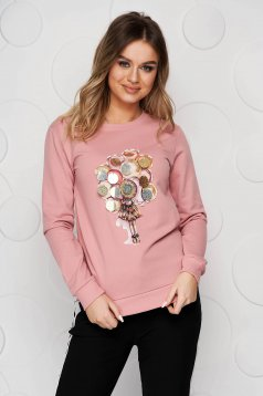 Cotton with graphic details lightpink women`s blouse with sequin embellished details