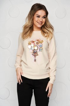 Cotton with graphic details cream women`s blouse with sequin embellished details