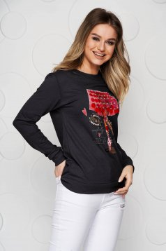 Black women`s blouse cotton loose fit with sequin embellished details
