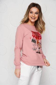 Bluza dama SunShine roz din bumbac cu croi larg si aplicatii cu paiete tip solzi
