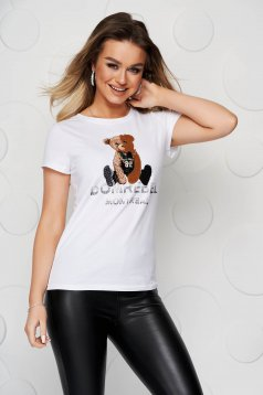 White t-shirt cotton short sleeve tented with graphic details