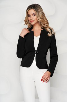 Jacket black office tented from non elastic fabric
