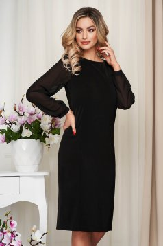 Black dress midi straight transparent sleeves with puffed sleeves