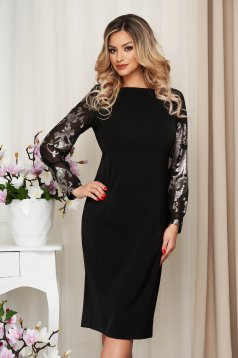 Dress black occasional midi straight with glitter details from elastic fabric