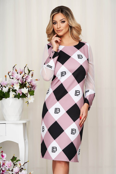 Dress with graphic details lightpink office transparent sleeves straight