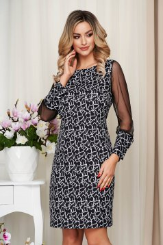 With graphic details office straight transparent sleeves black dress