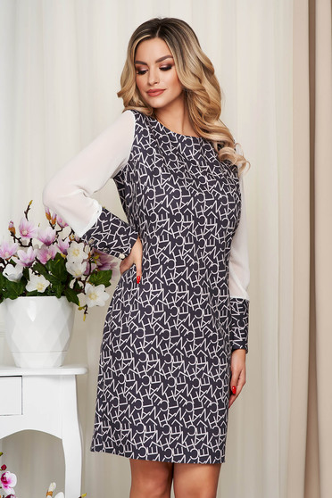 Dress with graphic details darkgrey office transparent sleeves straight