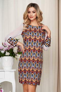 Dress with graphic details mustard office transparent sleeves straight