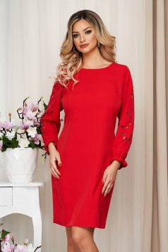 Dress StarShinerS red straight elastic held sleeves pierced fabric