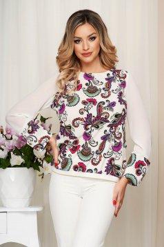 Bluza dama StarShinerS mov cu imprimeu floral din material elastic maneci transparente cu croi larg
