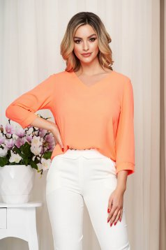 Women`s blouse coral loose fit thin fabric slightly transparent fabric