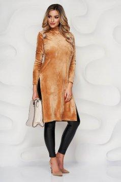 Bluza dama StarShinerS crem mulata din plus elastic cu slit lateral