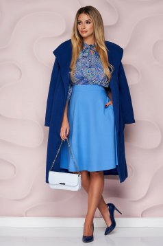 Fusta StarShinerS albastru-deschis office midi in clos din stofa usor elastica cu talie inalta si buzunare