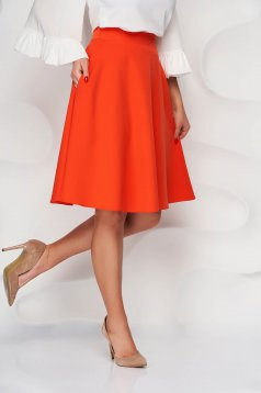 StarShinerS orange skirt high waisted elegant cloche midi with pockets without clothing