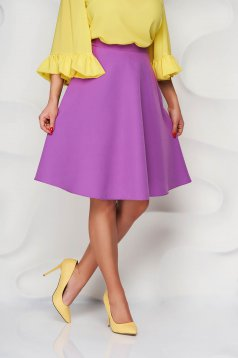 StarShinerS purple skirt high waisted elegant cloche midi with pockets without clothing