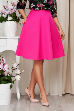 StarShinerS fuchsia skirt high waisted elegant cloche midi with pockets without clothing