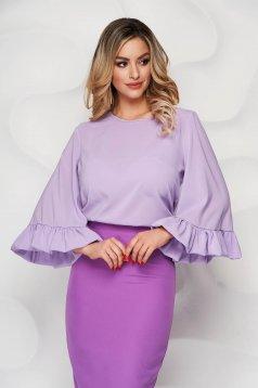 Bluza dama StarShinerS lila scurta din voal usor elastic cu croi larg