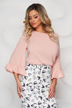 StarShinerS peach airy fabric women`s blouse with easy cut