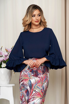 Bluza dama StarShinerS albastru-inchis scurta din voal usor elastic cu croi larg