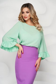StarShinerS mint airy fabric women`s blouse with easy cut