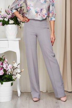 Pantaloni StarShinerS gri eleganti lungi evazati din stofa din material elastic