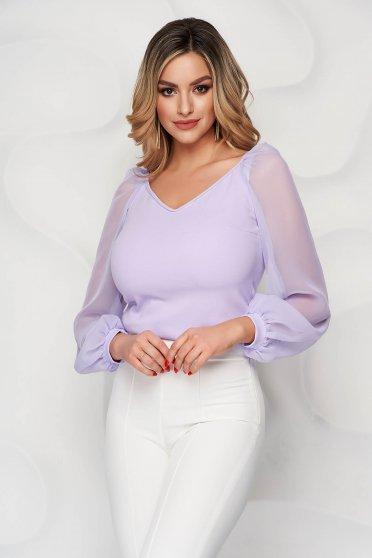 Bluza dama StarShinerS lila de ocazie cu un croi mulat cu decolteu in v si maneci transparente