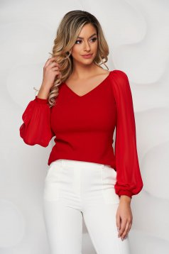 StarShinerS red occasional women`s blouse with tented cut with v-neckline transparent sleeves