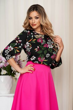 Women`s blouse StarShinerS black loose fit