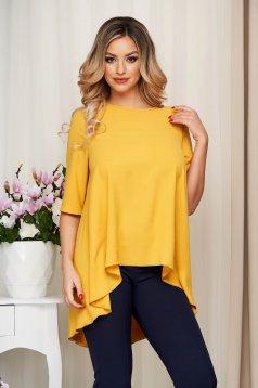Bluza dama StarShinerS mustarie din material soft cu croi larg asimetrica