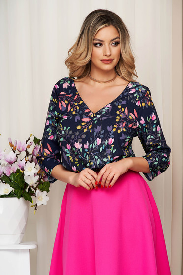 Women`s blouse darkblue with floral print v back neckline thin fabric