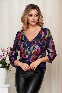 Bluza dama StarShinerS corai cu imprimeu floral decolteu in