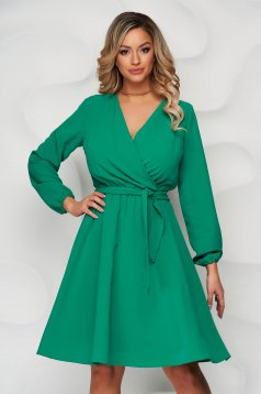 Dress StarShinerS green midi cloche with elastic waist wrap over front with inside lining