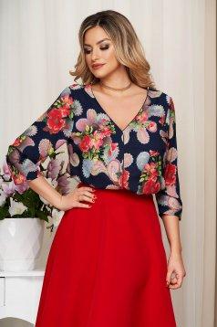 Bluza dama StarShinerS rosie cu imprimeu floral decolteu in