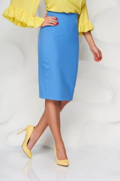 StarShinerS blue high waisted skirt office pencil cloth midi from elastic fabric