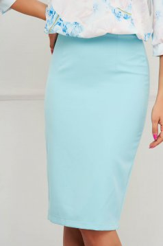 StarShinerS aqua high waisted skirt office pencil cloth midi from elastic fabric