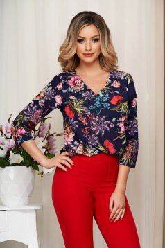 Women`s blouse pink with floral print loose fit thin fabric